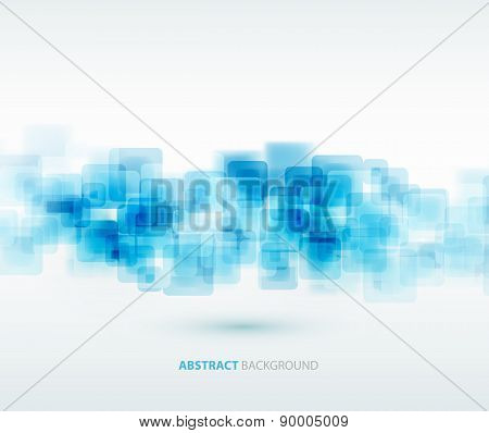 Blue shiny squares technical background. Vector