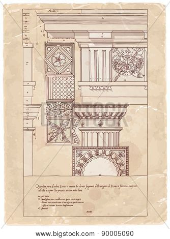 Vintage sheet of manuscript - hand draw sketch doric architectural order based