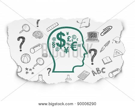 Education concept: Head With Finance Symbol on Torn Paper background