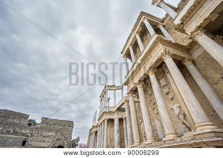 The Roman Theatre in Merida, Spain. Bottom-up View