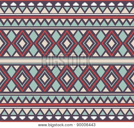 Vector seamless tribal pattern with rhombus, triangles and stripes