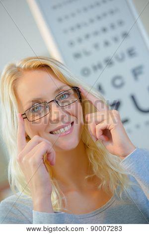 Lady at Opticians