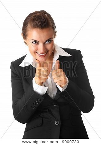 smiling modern business woman showing thumb up gesture isolated on white background