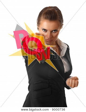 furious modern business woman punching isolated on white background