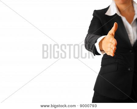 modern business woman stretches out hand for handshake isolated on white background