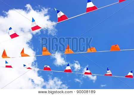 Orange flags, celebrating kings day in the Netherlands