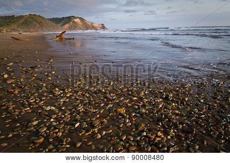 Landscape of beautiful calm Ayampe beach in Ecuador