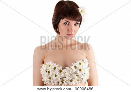 beautiful woman with chrysanthemums on the breast