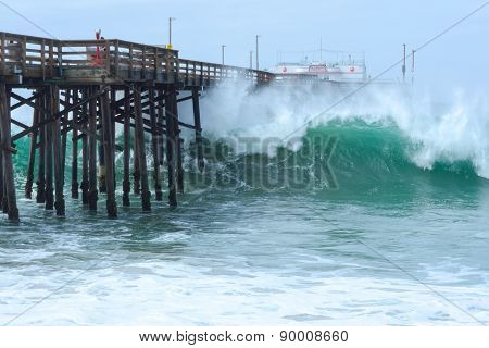 High Surf At Balboa Pier In Newport Beach, California