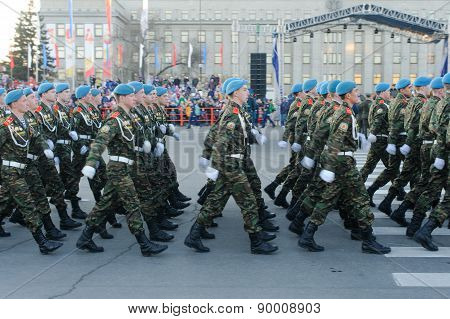 Irkutsk, Russia - 7 May 2015: Rehearsal Of The Victory Day Parade At Kirov's Square, Irkutsk. 70 Yea
