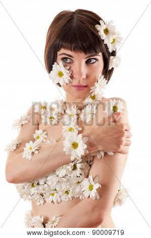 attractive woman with allergy as chrysanthemum flowers on body