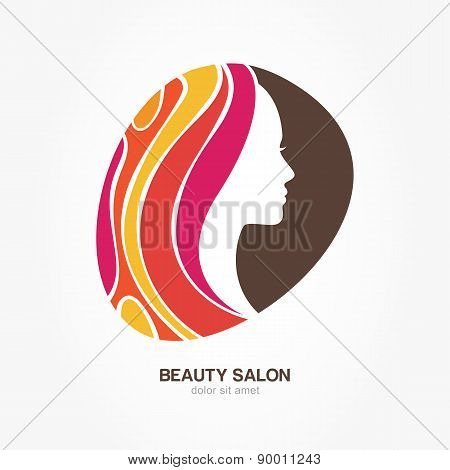 Beautiful Woman's Profile Face With Creative Multicolor Hair In Round Shape. Vector Logo Design Temp