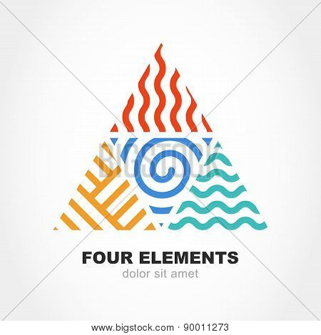 Four Elements Simple Line Symbol In Pyramid Shape. Vector Logo Design Template. Abstract Concept For