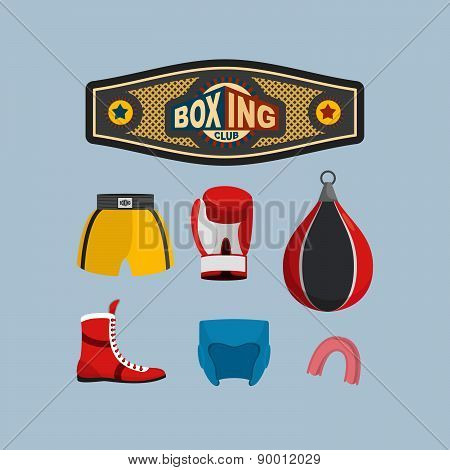 Set Boxing Icons. Boxing equipment. Vector illustration