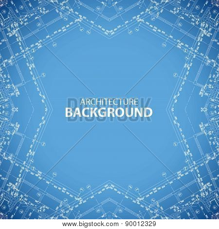 Architecture kaleidoscopic blueprint background