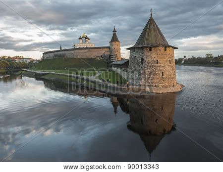 Pskov Kremlin At The Confluence Of Two Rivers, The Great And Pskov At Sunset.