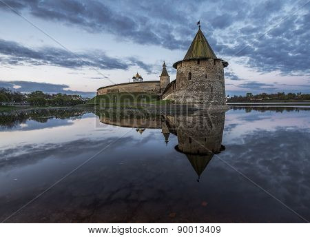 Pskov Kremlin At The Confluence Of Two Rivers, The Great And Pskov.