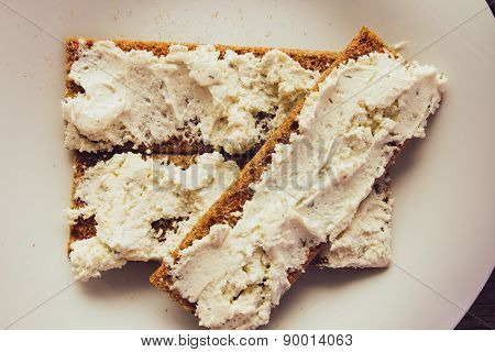 Crisp Bread With Cream Cheese Top View