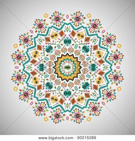 Ornamental round bright fashion pattern in aztec style