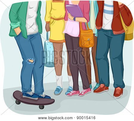 Cropped Illustration of Teenage Students Gathering Together