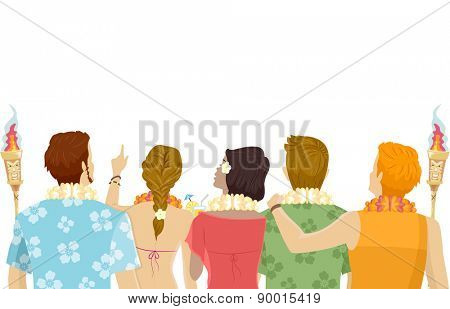 Back View Illustration of Teens Wearing Hawaiian-Themed Outfits