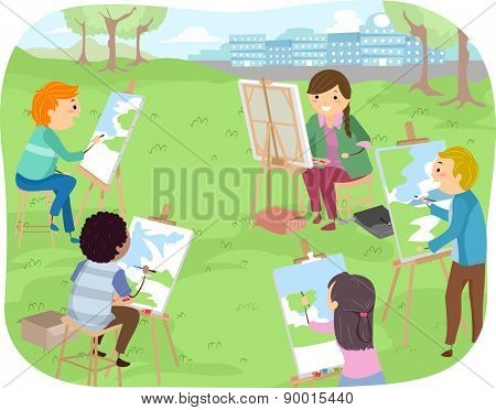 Illustration of Teenagers Painting Landscapes in a Park