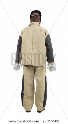 Welder in workwear suit