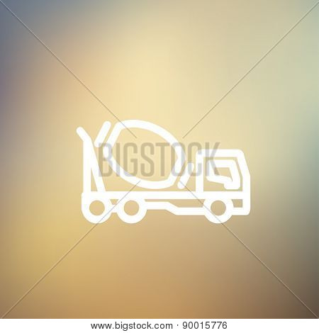 Concrete mixer truck icon thin line for web and mobile, modern minimalistic flat design. Vector white icon on gradient mesh background.