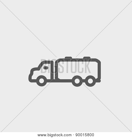 Truck liquid cargo icon thin line for web and mobile, modern minimalistic flat design. Vector dark grey icon on light grey background.