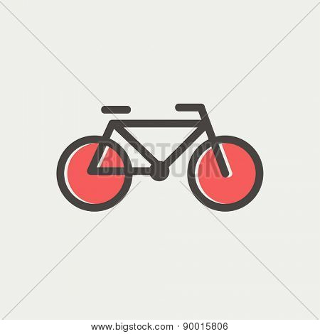 Bicycle icon thin line for web and mobile, modern minimalistic flat design. Vector icon with dark grey outline and offset colour on light grey background.