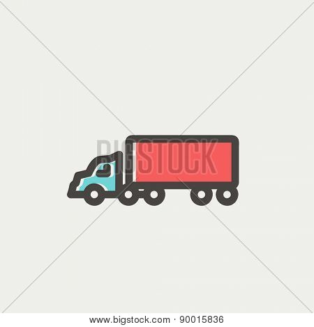 Delivery truck icon thin line for web and mobile, modern minimalistic flat design. Vector icon with dark grey outline and offset colour on light grey background.