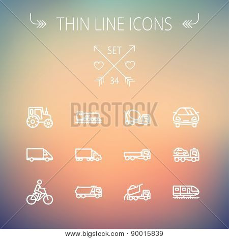 Transportation thin line icon set for web and mobile. Set includes-sports car, trucks, vans, bicycle, towing truck, mixer truck, train icons. Modern minimalistic flat design. Vector white icon on