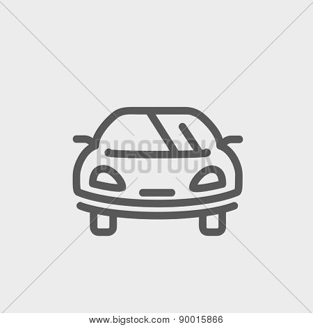 Sports car icon thin line for web and mobile, modern minimalistic flat design. Vector dark grey icon on light grey background.
