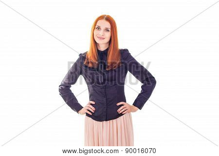 Portrait of redhead elegant smiling woman with hands on each side
