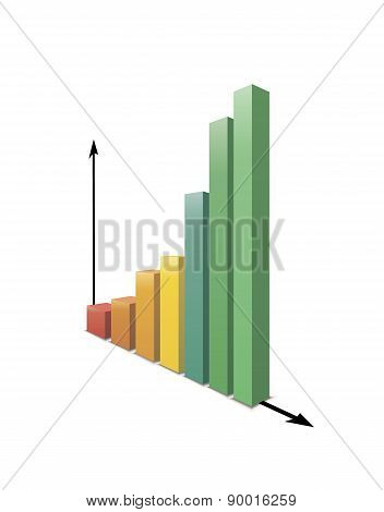 Glossy increasing graph isolated on white