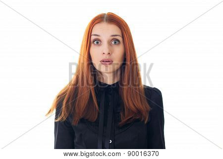 Portrait of a beautiful redhead woman scared