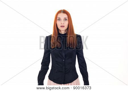 Beautiful redhead woman scared by something