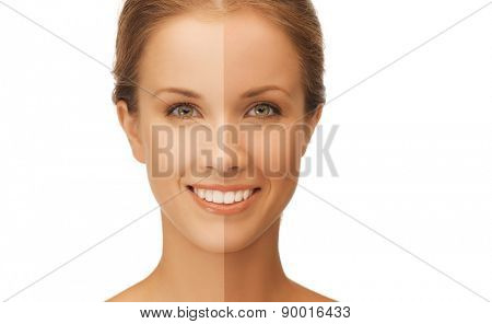 beauty and health concept - beautiful woman with half face tanned