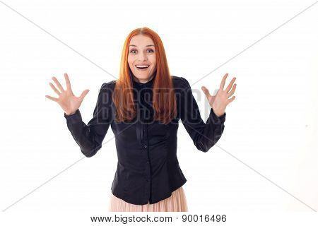 Beautiful attractive woman with a surprised happy eyes waving hands
