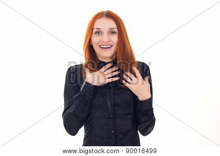 Attractive beautiful surprised woman with her hands folded on chest