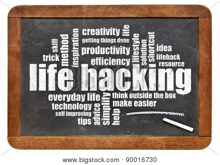 life hacking word cloud on an isolated vintage blackboard