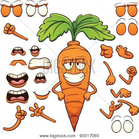 Cartoon carrot character. Vector clip art illustration with simple gradients. Elements on separate layers for easy editing.