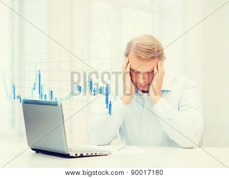 business, tax, office and money concept - stressed old man with form and forex chart at home