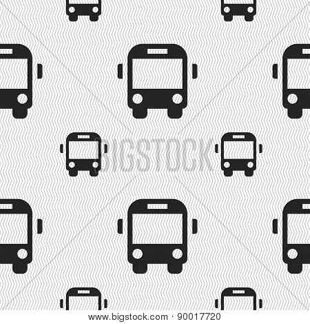 Bus Icon Sign. Seamless Pattern With Geometric Texture. Vector