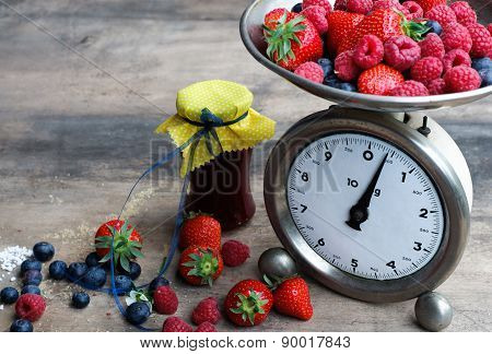 Preparing Berries Marmalade With Vintage Kitchen Scale