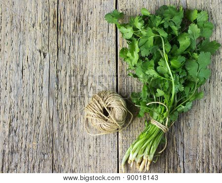 Bunch Fresh Cilantro  On A Wooden Table