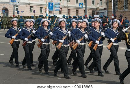 Soldiers In Uniform Are At Rehearsal Of Military Parade