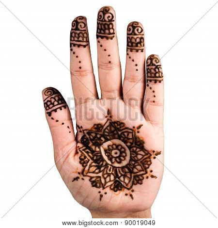Henna hand tattoo decoration art clipping path square