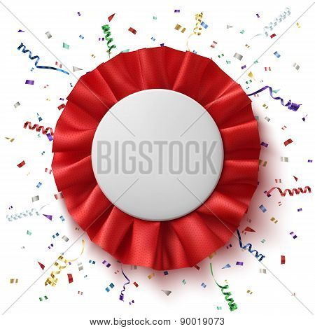 Blank, realistic red fabric award ribbon .