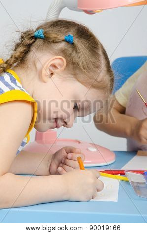 Girl On A Drawing Lesson